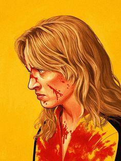 Mike Mitchell Illustrations (7) #illustration #film #blood #yellow #kill bill #revenge #uma thurman #the bride