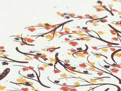 Branches | Fall Detail #joystain #fall #noa #illustration #nature #poster #branches #detail #emberson #leaves