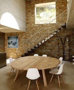 Modernist Brutalism of the Row Concrete at Maison Le Cap - #diningroom#table,#chairs,#interior,#decor