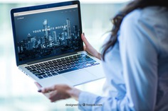 Businesswoman with laptop Free Psd. See more inspiration related to Mockup, Business, Technology, Computer, Woman, Laptop, Presentation, Notebook, Elegant, Present, Mock up, Success, Modern, Open, Display, Business woman, Screen, Up, Successful, Computer screen, Businesswoman, Holding, Mock and Presenting on Freepik.