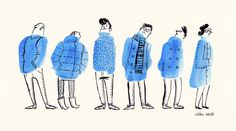 Bus Stop People. Warm up doodle today: Make random ink blobs; draw something to it. Its a bit like looking for shapes in clouds. #illustrat