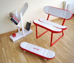 Skateboard Furniture #interior #creative #modern #design #furniture #architecture #art #decoration