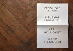 manystuff.org — Graphic Design daily selection » Blog Archive » Peep-Hole Sheet – Karl Holmqvist #design #graphic #typography