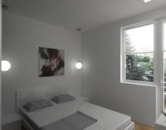 Bedroom with abstract painting and minimalist design