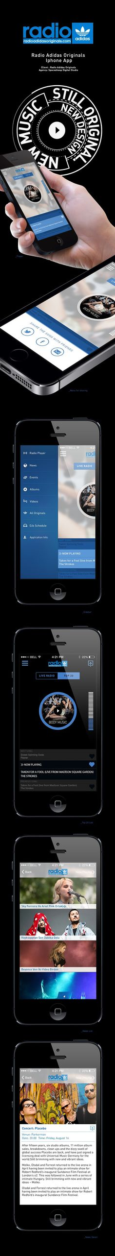 Radio Adidas Originals IOS App V 2.0 on Behance #radio #adidas #originals #design #yildirim #ui #yasemin #mobile #ios