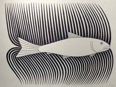 Kenojuak Ashevak #canada #b+w #fish #nature #minimal