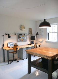 Home Studio Office | The Union General #office #wood #desk #studio #workspace
