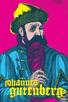 Johannes Gutenberg Pop Art #gutenberg #popart #typographers