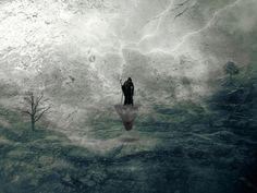 Lightning #Digitalart #digital #photoshop #lightning #art #manipulation #surreal #man #tree #land