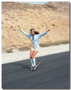 AHONETWO #girl #socks #70s #blur #summer #road #skateboard #motion #speed