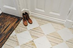 Pinned Image SEB: painted floor #paint #white #diamond #floor