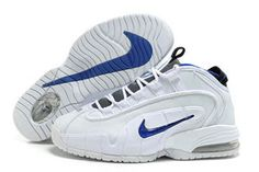 nike penny one all white and royal blue basketball men shoe #shoes
