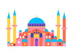 Hagia Sophia #city #geometric #illustration #building #minimal