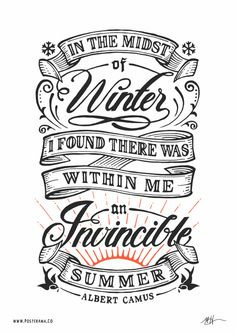 Inspirational quotes: Albert Camus Invincible Summer poster