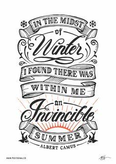 Inspirational quotes: Albert Camus Invincible Summer poster