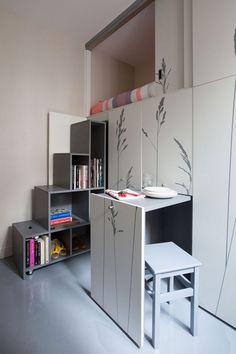 Tiny 86 Square Foot Apartment in Paris #interior #house #design #space #architecture #room