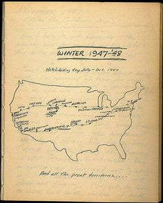 The road less taken, Jack Kerouac's map #map #jack kerouac