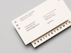 Logo and business card with black foil detail designed by Heydays for Oslo based architecture studio Goa Arkitektkontor #logo #branding