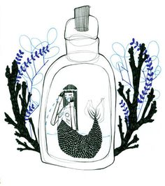 The Trophy - Natasha Muhl #natashamuhl #illustration #mermaid #bottle