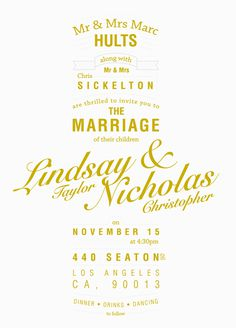 NICK SICKELTON #lettering #marriage #design #formal #invites #type #wedding #typography