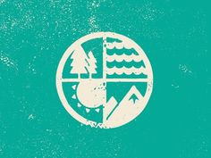 FFFFOUND! | Dribbble - Nature Lockup by Brent Couchman #sun #mountain #water #tree #elements #crest #nature #distressed #reversed #logo