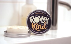 Taller Design Agency Rowdy Kind packaging tin soap bar in bathroom spilled milk
