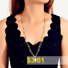 Fashion #Gold #Multi-layer #Triangle #Resin #Pendant #Long #Necklace #- #GOLD