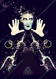Circus « Eat Pizza Design #illustration #poster #graphic #photoshop #dark #circus