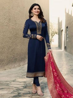Blue Satin Georgette Embroidered Straight Cut Suit - Inddus.