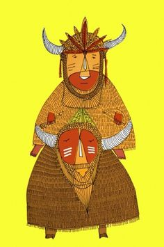 Char Lee #draw #primitive #illustration #indian #buffalo #charlee