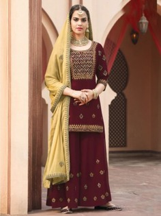 Maroon Embroidered Palazzo Suit - Inddus.