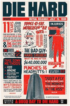 Die Hard Infographics #movie #infographic #design #illustration #poster