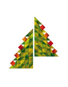 Christmas card #holidays #red #tree #winter #christmas #triangles #xmas #green