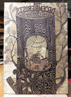All sizes | Tugboat Printshop // The Decemberists | Flickr - Photo Sharing! #cut #bock #printmaking #print #gig #tugboat #press #wood #poster #decemberists