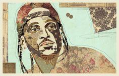 """""""PUSH"""" www.KyleMosher.com #illustration #art #kylemosher #vintage #newspaper #hiphop #portrait #rap"""