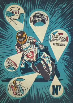 "Guy Martin ""setup"" illustration for FastBike Germany #racing #illustration #motorcycle"