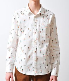 Image of 'Skiers' Shirt in White #fashion #ski #pattern #shirt