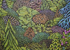 landscape, trees, green, mountain, woodcut, tugboat printshop, printshop