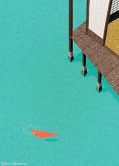 fish, water, house, illustration, ryotakemasa.com