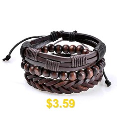 Vintage #Faux #Leather #Woven #Beads #Friendship #Bracelets #- #COFFEE