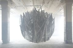 Nicola Yeoman #construction #installation #photo #spider #something #web #light #shadow