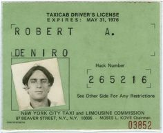 Robert De Niro's Taxicab License, 1975 | Retronaut #license #driver #deniro #taxi