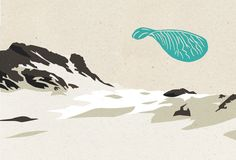 illustration, mixed media, digital drawing and linocut, landscape, propeller blade, maple seed