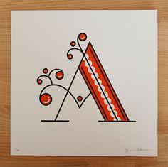 jessica hische, daily drop cap, letters, letterpress, prints #font #lettering #letters #hische #prints #letterpress #drop #cap #jessica #daily #type