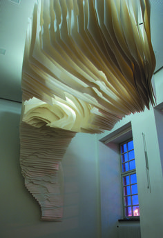 paper, sculpture, installation, cut, tunnel, cave