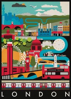 PrettyClever #london #illustration #colorful #poster