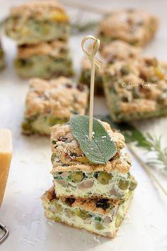 Baked Omelett mit Erbsen und Champignons (diätetische pea omelette Detail) #food