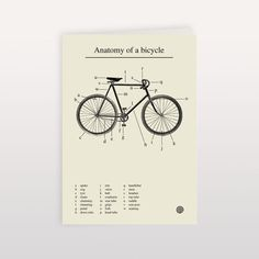 Anatomy of a Bicycle 120x170mm Greeting Card anthonyoram #bicycle #bike