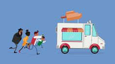 #icewagon #illustration #icecream #adoreable #flat #wannahave #popsicle #running #walkcycle #animation