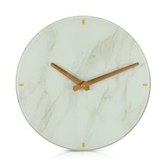 Round Marble Look White Open Face Wall Clock 25cm